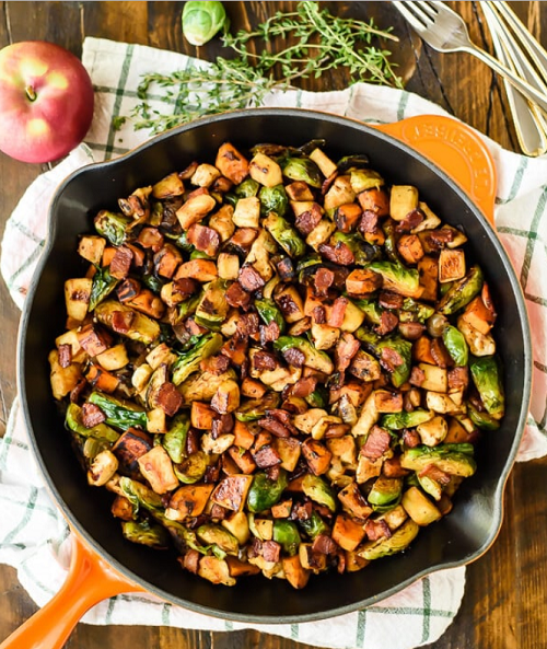 Harvest Chicken Skillet with Sweet Potatoes Brussels Sprouts and Sautéed Apples