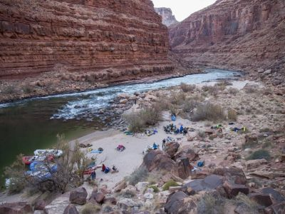 View of rafts lineup by the canyon