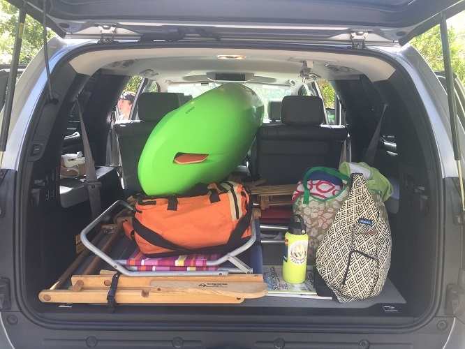The Bellyak in a car with an Ocoee Watershed Drybag