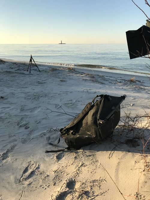 Watershed Drybag on the sandy beach