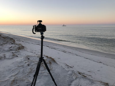 Image set on the tripod capturing the sunset